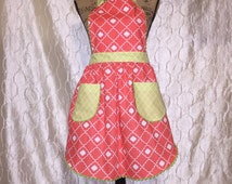 Coral and Green Womans Apron