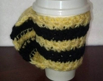 Black and Yellow Cup Cozy with Handle, Crochet, Star Stitch, Handmade