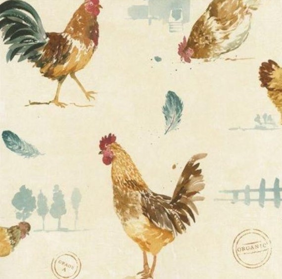 Green and Cream Country Roosters - Organic, Off White, Farmhouse, Farm House, Chickens, Animals, Kitchen Decor - By The Yard -  FK34434 so