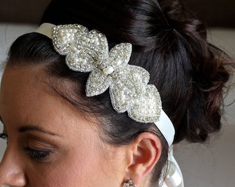 Beaded Bridal Headband,  Crystal and Pearl Wedding Head Band, Bridal Hair Accessory, RICKY