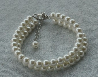 ivory pearl Bracelet,Glass Pearl Bracelet,Pearl Bracelet,Wedding Bracelet,wedding pearl,2 rows bracelet,Bridesmaid Bracelet,Jewelry