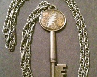 Hand Casted Skeleton Key Pendant w/ Watch Gears and Grateful Dead Bolt top covered in Epoxy
