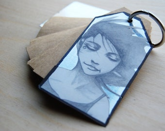 Gift tag notebook with binder ring and print