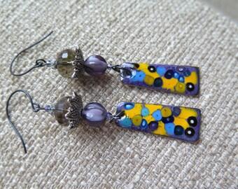 purple earrings, violet earrings, purple and yellow earrings, unique earrings, long earrings, purple and blue earrings, abstract earrings