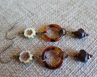 brown earrings, hoop earrings, rustic earrings, cool earrings, unique earrings, flower earrings, very long earrings, tortoiseshell earrings