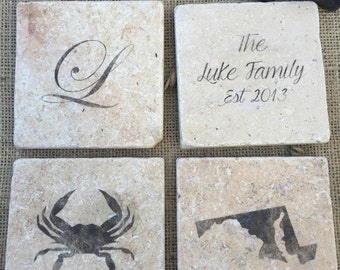 Custom Stone Coasters, Set of four