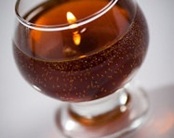 Amaretto-Scented Long Lasting Soothing Gel Candle in small 4oz. Cognac Glass.  Makes a great gift for brown liqueur or Amaretto lovers.