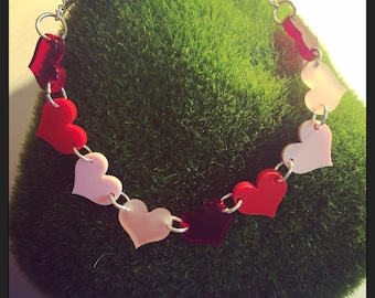 Multi Heart Acrylic Necklace