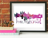 Philadelphia Art, Philly Skyline, Philadelphia map, Philadelphia skyline, Philly map print
