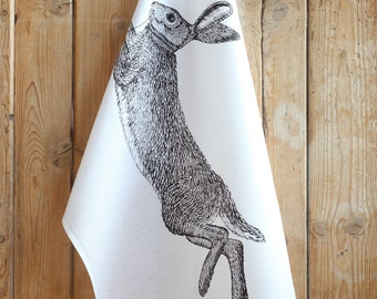 Hare Screen Printed Tea Towel