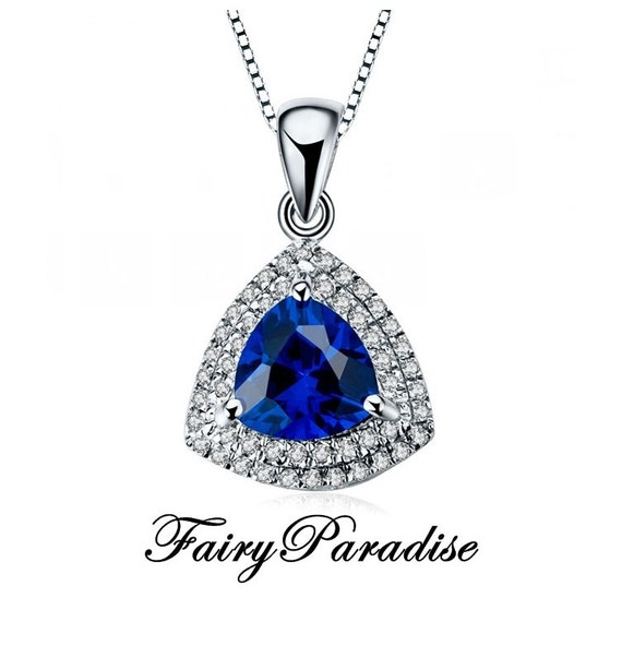 2 ct trillion cut man made blue sapphire double halo pendant for Man made sapphire jewelry