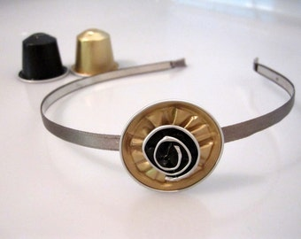 Satin Covered Metal Headband in Grey & Gold with a Flower Made from Upcycled, Recycled Nespresso Capsules
