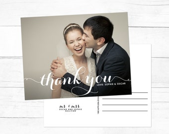 PRINTABLE Wedding Thank You Postcard - Modern Calligraphy Script Thank You Postcard - Wedding Photo Thank You Postcard