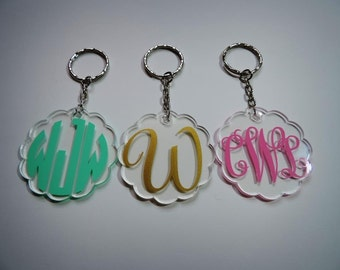 Monogram Keychain, Custom key chain, Monogrammed Acrylic Key Chain, Bridesmaid gift, Gift Wrapping Available!