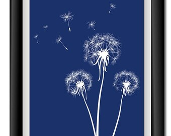 Flower Dandelion Print Navy Blue White Flowers Print Wall Decor Modern Minimalist Bathroom Bedroom Living room