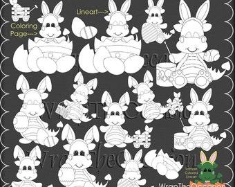 Easter Dragons Color Me CU Clipart