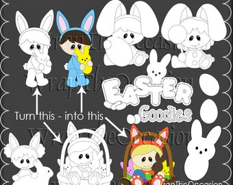 Easter Goodies Color Me CU Clipart