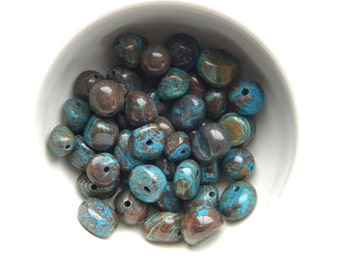 10 Blue Crazy Lace Agate Nugget Beads