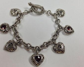 Natural Garnet Heart Bracelet Sterling Silver
