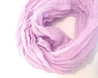 Orchid Scarf, Pastel Purple Scarf, Lilac Cotton Scarf, Purple Cotton Scarf, Lightweight Spring Summer Gauze, Extra Long Orchid Cotton Scarf