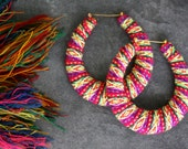 Andean Hoop Earrings, big, african, ethnic, large, textile, palomita, Red, summer, rainbow, boho, hippie, south american,