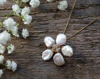 Bridal necklace, wedding necklace, gold bridal jewelry, wedding jewelry, bride, keishi pearl, Swarovski crystal, gold filled, flower, floral