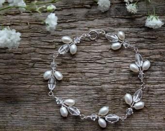 Bridal bracelet, wedding bracelet, freshwater pearl and Swarovski crystal sterling silver bride bracelet, bridal jewelry, gift for bride