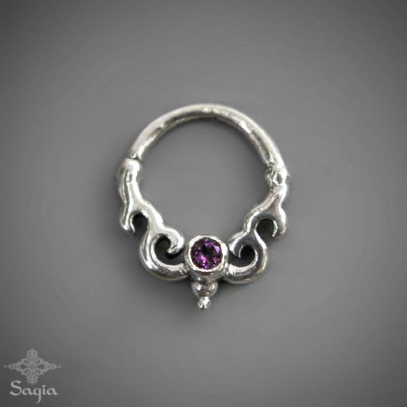 Tribal silver septum with amethyst stone septum nose ring - Decorative septum jewelry ...