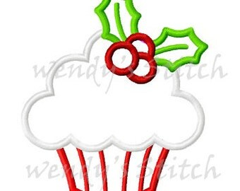 Christmas holly cupcake applique machine embroidery design