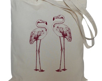 Tote bag/ drawstring bag/ cotton bag/ material shopping bag/ flamingos/ storage/ shoe bag/ birds/ market bag