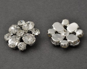 28mm Rhinestone Button with Shank Back, Crystal/Silver by each, TR-11035