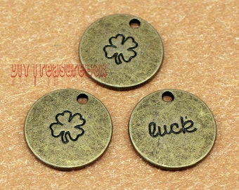 10pcs-LUCK Charms, Antique bronze Lucky Clover charm Pendants  20mm