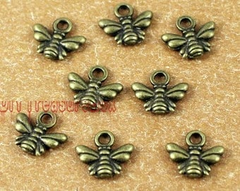 80pcs--Bee charms, Antique Bronze Lovely Bee Honeybee Charm Pendant 11x10mm