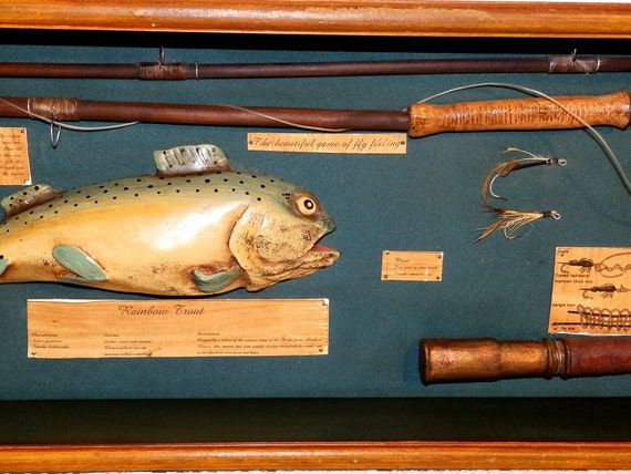 Vintage rainbow trout fly rod fishing display in shadow box for Shadow fly fishing