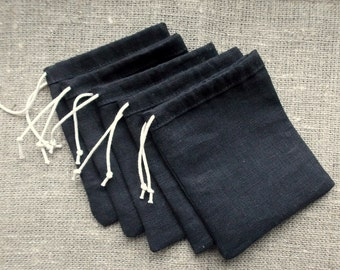 50 Black Linen Gift Pouches Jewelry Small Bags