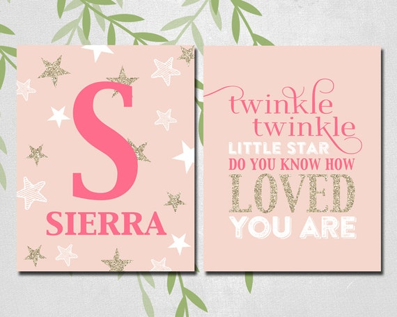 twinkle twinkle little star wall art print | pink and gold nursery ...