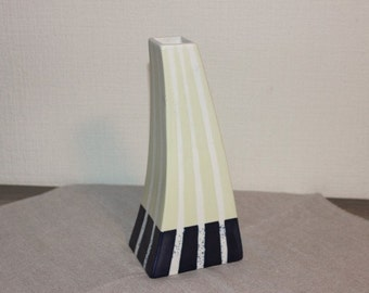 Vintage Ceramic Vase Art Decor Home Decor, Pale Yellow Dark Blue Striped Vase @96