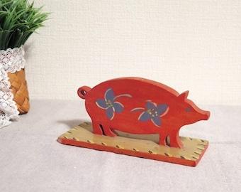 Vintage Wooden Pig Figurine, Wooden Home Decor, Swedish Vintage Scandinavian Decor @E1