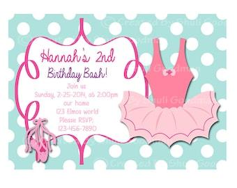 Ballerina birthday  Invitations - printable - DIY - digital file (BL21)