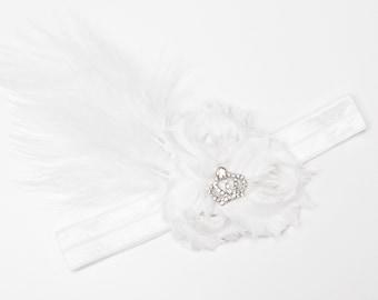 Shabby feather headband - White