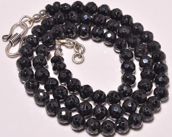 Sale -Black Spinel Rondelles AAA Micro Faceted Black Spinel Gemstone Beads 5mm