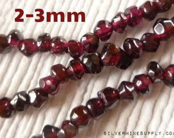 2-3mm Tumbled Red Garnet Beads - Garnet Nuggets - Tumbled Garnets - Tumbled Gemstones - Gemstone Nuggets - Nugget Beads - Red Garnet Beads