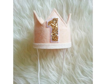 First Birthday Felt Crown   Blush and Gold Birthday Party Hat   Cake Smash   1st Birthday   Birthday Crown   Ready to Ship