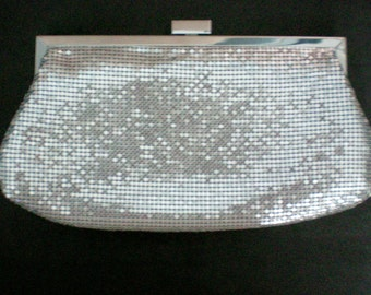 Silver Metal Mesh Clutch Evening Bag with Shoulder Chain - 3840