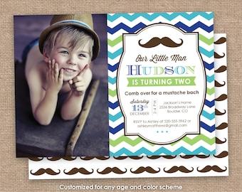 Little Man Birthday Invitation, Mustache Invitation, 1st 2nd 5th Birthday, Green Blue Brown, Chevron DIY Printable