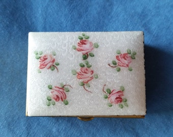 Vintage Guilloche Enamel Trinket Pill Box