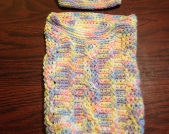 Baby cocoon blanket with hat