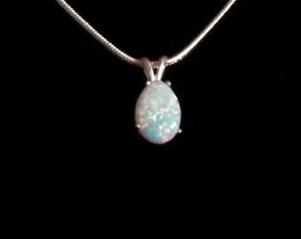 Shimmering White Opal Pendant