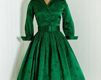 Vintage 1950s jewel green Suzy Perette dress