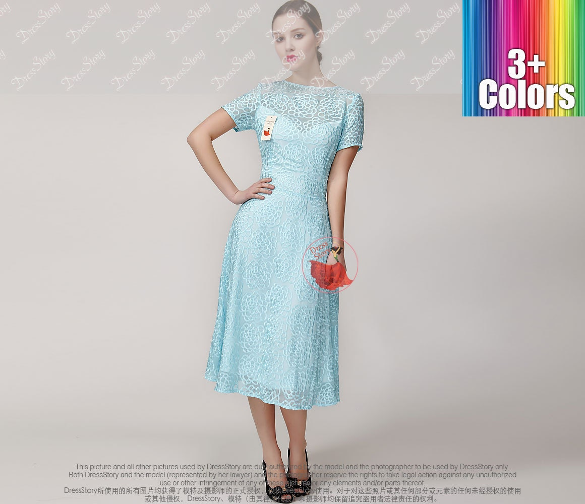 Pale Turquoise Silk Lace Prom Dress Elegant Silk by DressStory